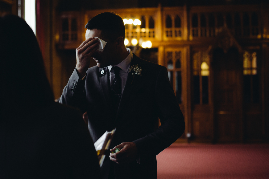 Manchester Town Hall wedding photography, groom waiting