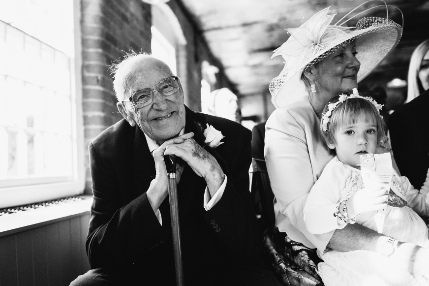 West Mill wedding photography, Grandad in the front row