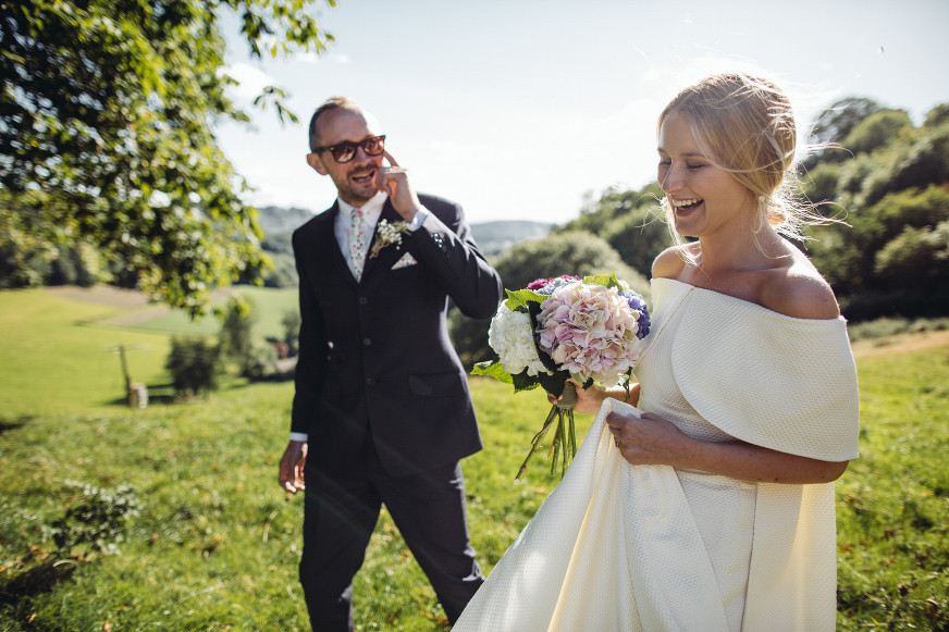 Bride and groom photography at their Shropshire tipi field wedding near Ludlow