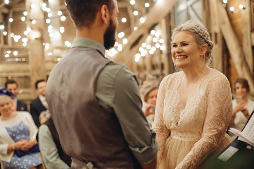 Pimhill Barn wedding photography blush dress