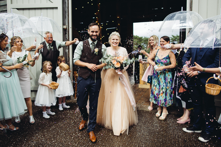 Manchester wedding photographer Pimhill Barn wedding confetti