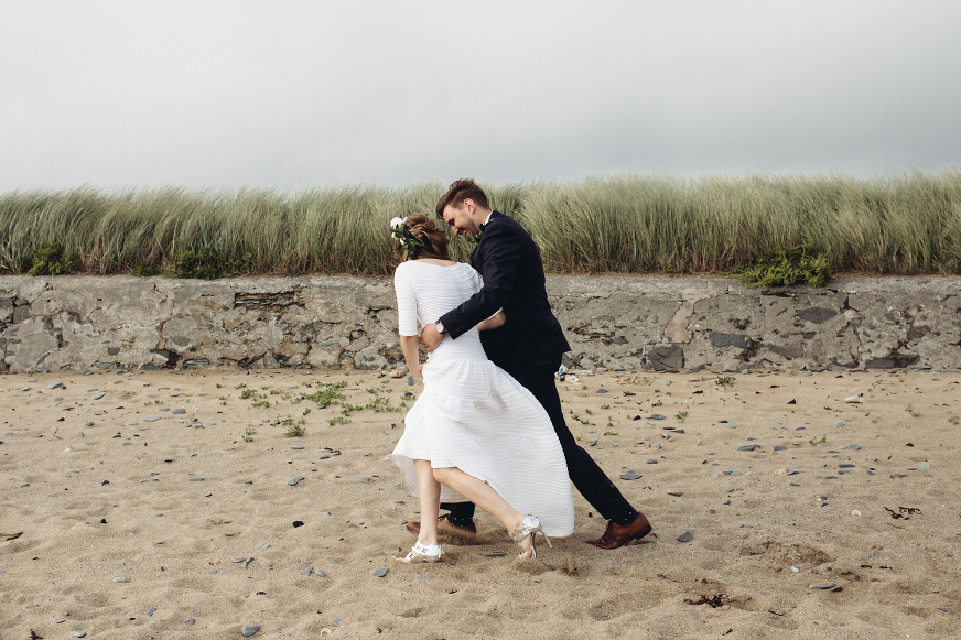 Anglesey beach wedding photography bride and groom