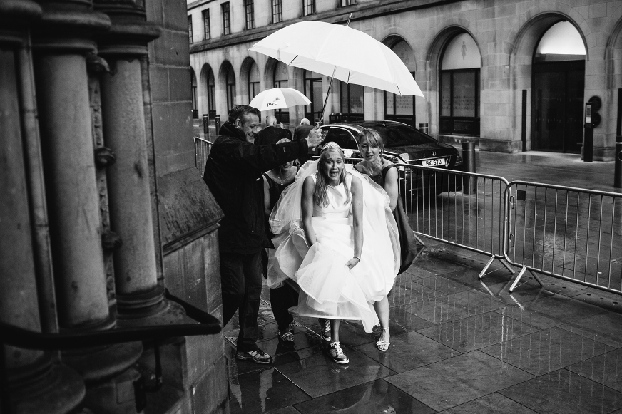 Bride in the Manchester rain